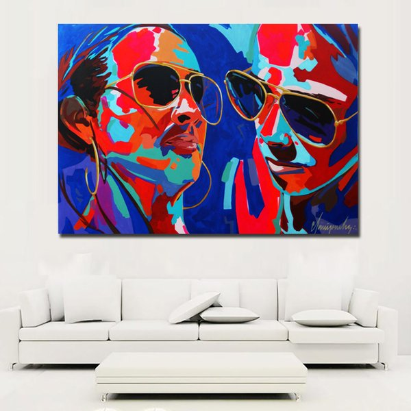 1 Piece Colorful Face Art Portrait Oil Painting Modern Abstract Painting Printed On Canvas Prints Poster Wall Art No Frame