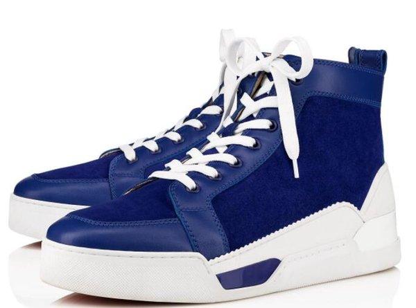 [Оригинальная коробка] Мужская обувь красная нижняя кроссовка роскошные свадебные туфли, натуральная кожа Louisfalt шнуровка Повседневная обувь белый синий 35-47