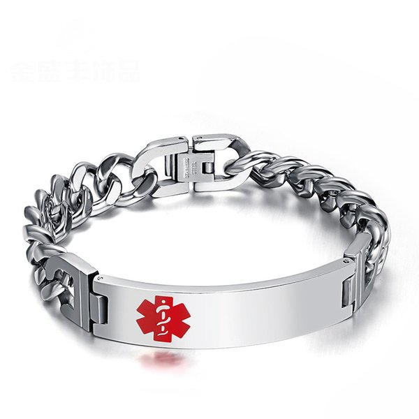 Heiße Männer Armbänder Edelstahl Medical Pattern Red Emaille ID Tag Armband Gliederkette Armband Für Männer Schmuck