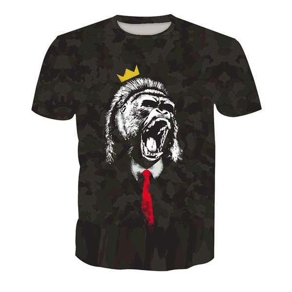 Мужская футболка gorilla 3D Digital Full Printed Man Graphic Tee Shirt повседневная топы мужская с коротким рукавом футболки блузка (RT-0881)