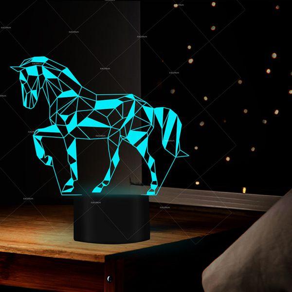 3D LED Night Light Jigsaw Puzzle Horse Action Figure 7 colori tocco Optical Illusion lampada da tavolo della decorazione della casa del cavallo della lampada
