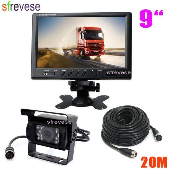 "9"" TFT LCD Car Rear View Monitor + Waterproof 4Pin 18 LED Reversing Parking Backup Camera Kit Free 20M cable for Bus Truck Motorhome"