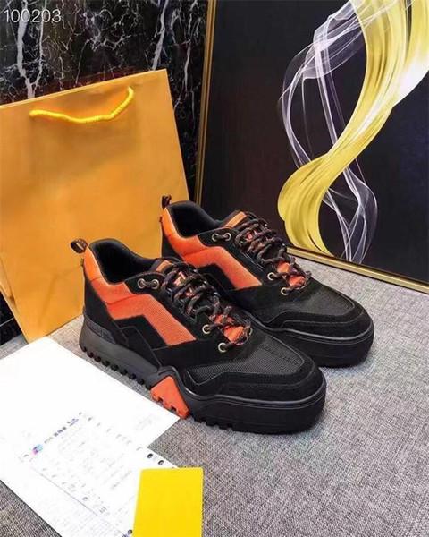 2019 Erkek Yürüyüş Ayak Bileği Çizmeler Düz Çizme Turuncu Siyah Mavi, 19ss Buzağı Deri Sneakers Kompleksi Erkek Kış Ayakkabı Kutusu ile Boyutu 38-45