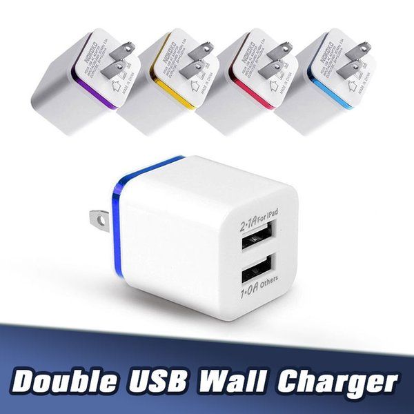 top popular 2.1A Dual Port USB Cube Power Adapter EU US Plug USB Wall Charger for Iphone Android Phones 2020
