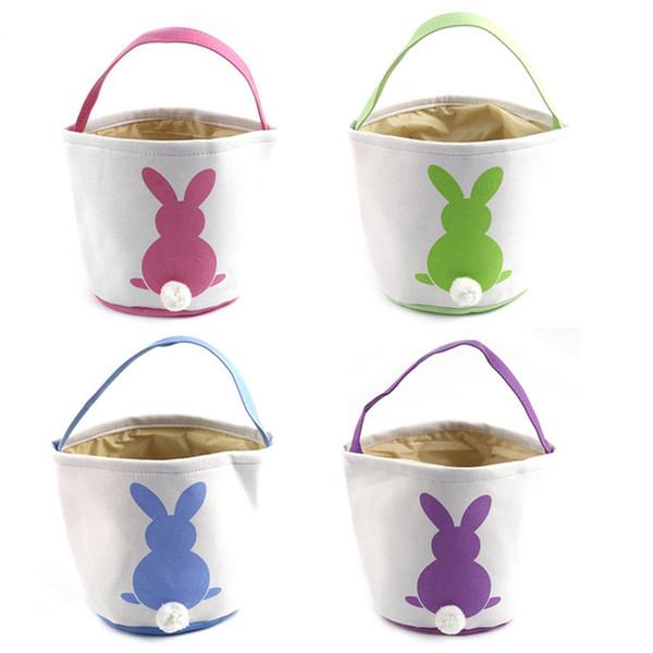 Easter Baskets Egg Bunny Gift Bags Rabbit Ears Storage Bags DIY Hand-made Burlap Bag Rabbit Easter Bags Christmas Handbags Totes 20pcs
