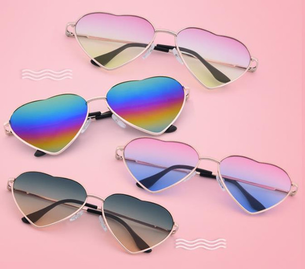 Новое поступление Ретро Металлические солнцезащитные очки в форме сердца Персиковое сердечко эксцентричные мужские и женские очки Солнцезащитные очки в форме сердца