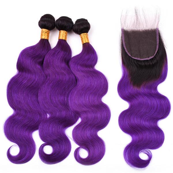 # 1B / Violet Ombre Bundles de cheveux malaisiens avec fermeture vague de corps Ombre Violet faisceaux d'armure 3pcs avec 4x4 fermeture à lacets 4pcs beaucoup