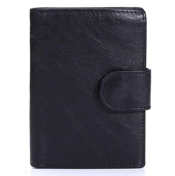 Genuine leather wallet Men's Short retro leather coin holder First layer leather vertical bag Clutch Purse Card Case ID Window Billfold
