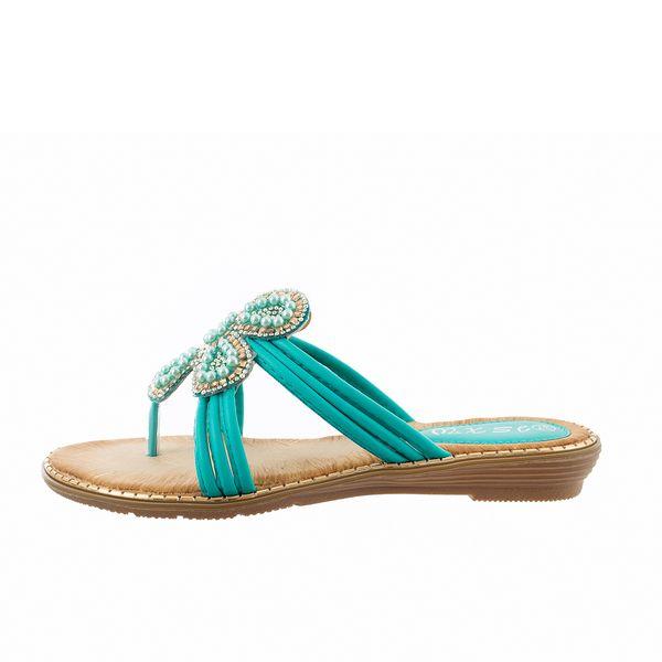 Women's Fashion Flower Beaded Flat Slippers Summer Bohemia Flip Flop Lady Nation Style Flexible Casual Walking Outdoor Slipper