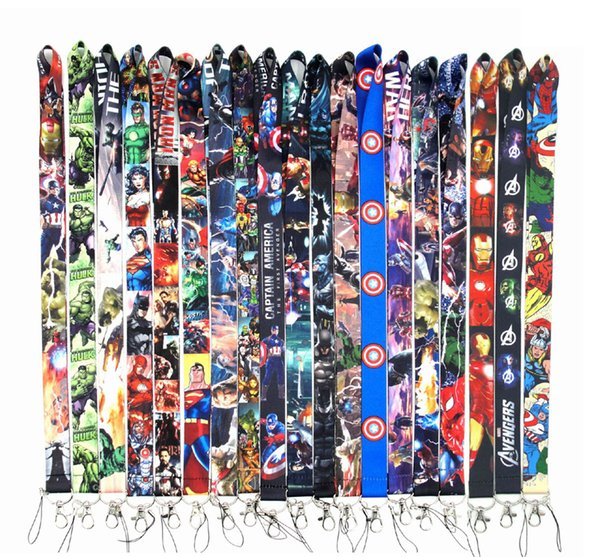 DHL free shipping High Quality 300PCS Mix Style Cartoon Super hero Avengers Key Lanyard Cheetah ID Badge Holders Stripe Phone Neck Straps