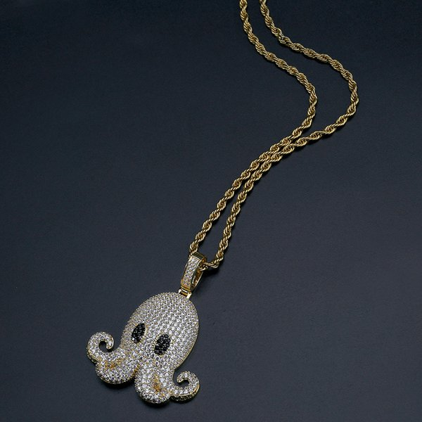 Net Red Hip-hop Octopus Pendant Micro-zircon Men's Street Necklace Hot Selling In Europe and America
