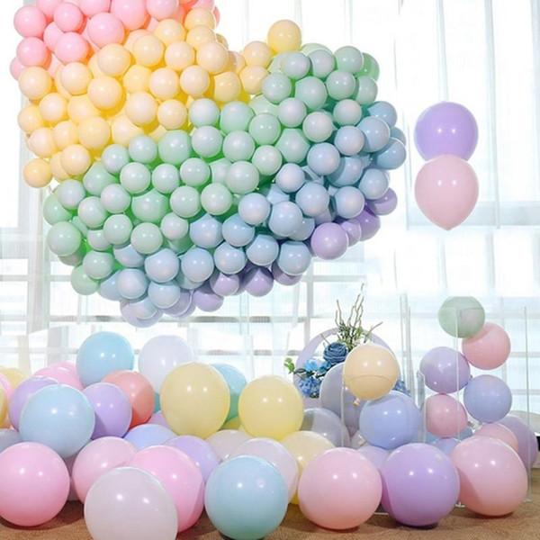 100 adet Macaroon Şeker Pastel Lateks Balonlar Doğum Günü Partisi için 10 inç Balonlar Şişme Balonlar Topları Düğün Dekorasyon Parti Malzemeleri