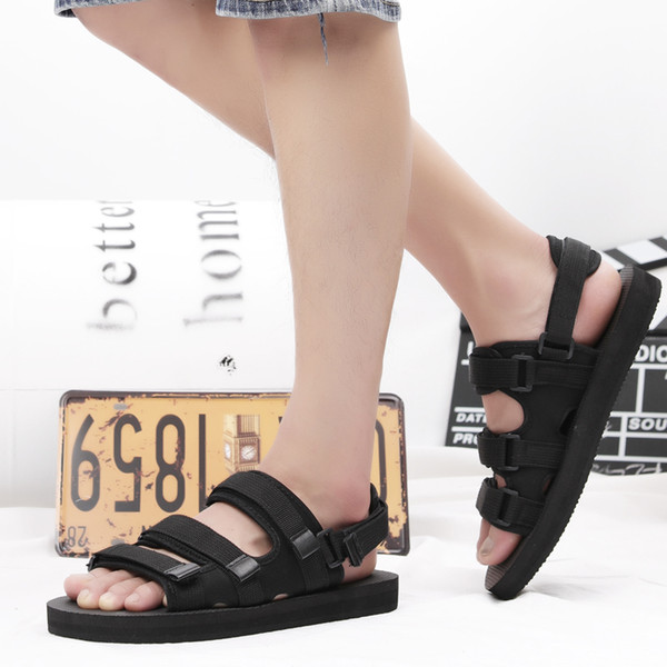 Sooneeya Two Wearing Casual Soft Men All Match Couple Beach Sandals Harajuku Style Black Slippers Hook Loop Big Size 56