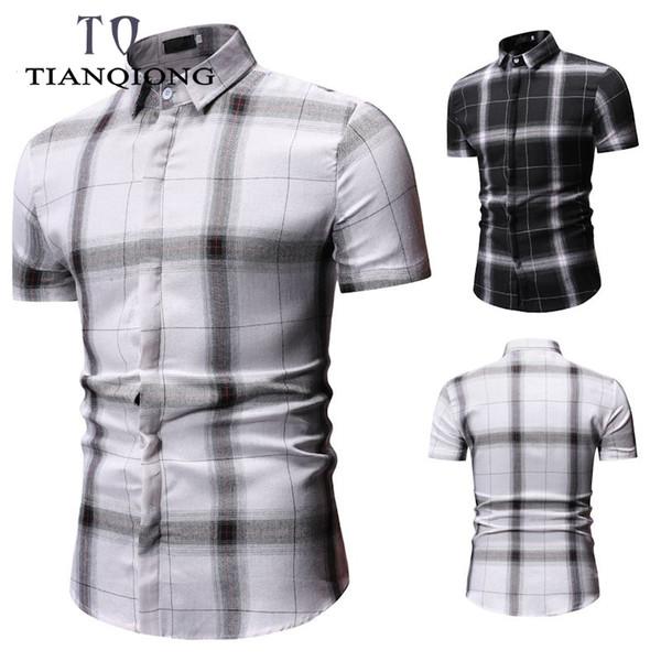 Plus Size 3XL 2019 Men Fashion Slim Fit Casual Plaid Shirt Men Dress Shirts Short Sleeve Social Mens Shirt Striped Chemise Homme