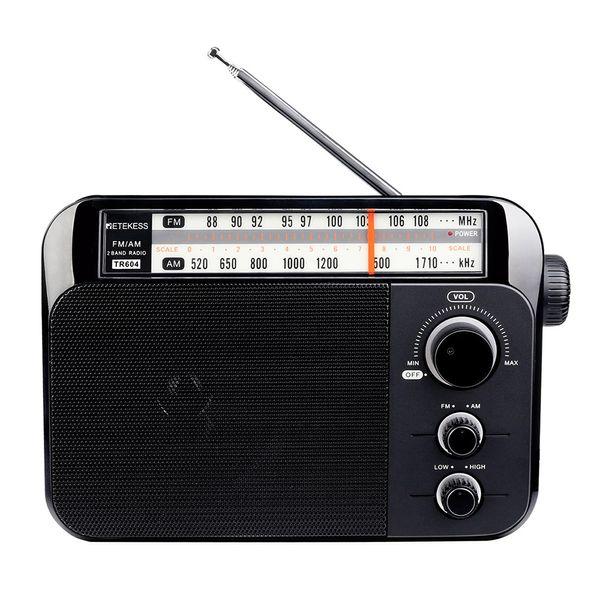 Retekess TR604 Radio AM / FM per anziani Radio a due bande Indicatore LED Maniglia portatile Batteria Alimentatore CA Altoparlante incorporato