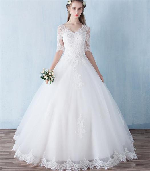 Dentelle perlée robe de bal robe de mariée avec appliques Longueur étage Corset Robes de mariée lacées Robes de mariée CG01