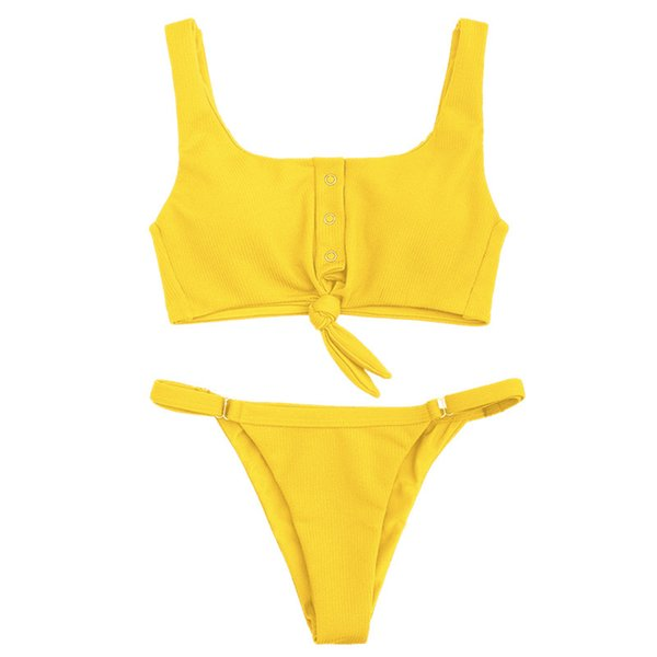 Bow Solid Bra Set Button Europa Sexy 2019 BH und String Gelb Rot Schwarz