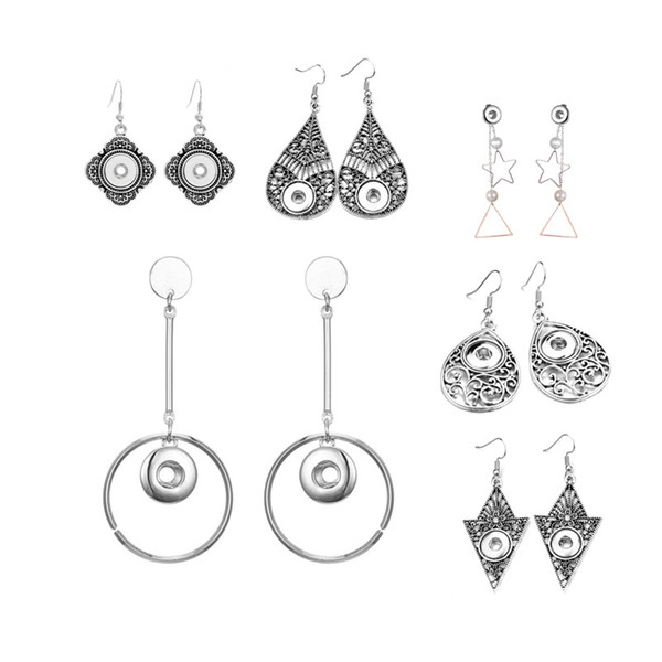 Hot Sale Flower 003 Interchangeable Fashion Crystal Rhinestones 12mm Snap Button Earring For Women Ginger Charms Gift