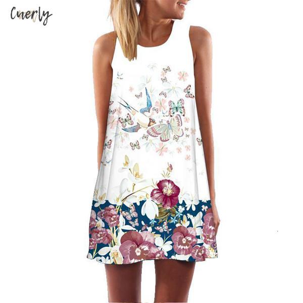 Lettera donne Summer Dress Stampa Sundress vestiti senza maniche a trapezio Boho Vestito Corto Beach Abiti casual Vestido Stilisti