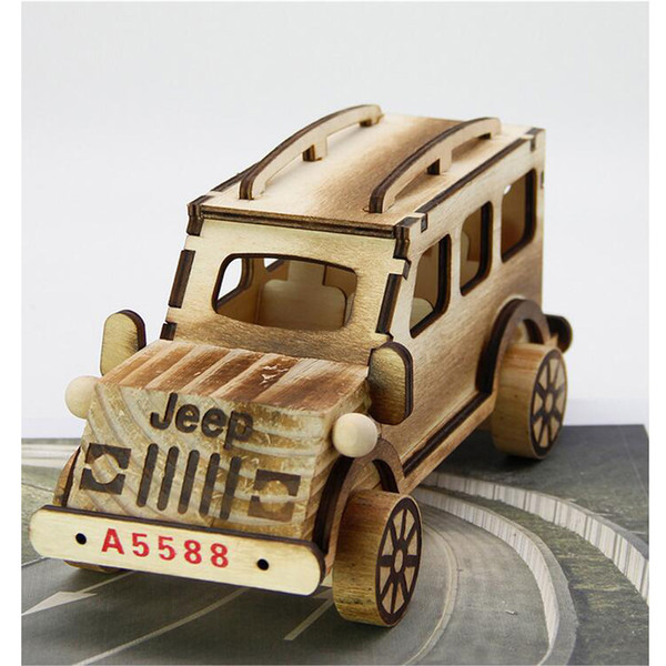 Lovely Hot Sale Handmade Wooden Imitation locomotive Jeep wooden Toy Craft home decoration promotion Xmas Gift kids toys