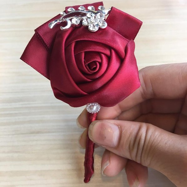 Bridal Wedding Groom Boutonniere Wine Red Satin Rose Flowers Corsage de mariage Prom Crystal Brooch Flowers de novia XH1300-2