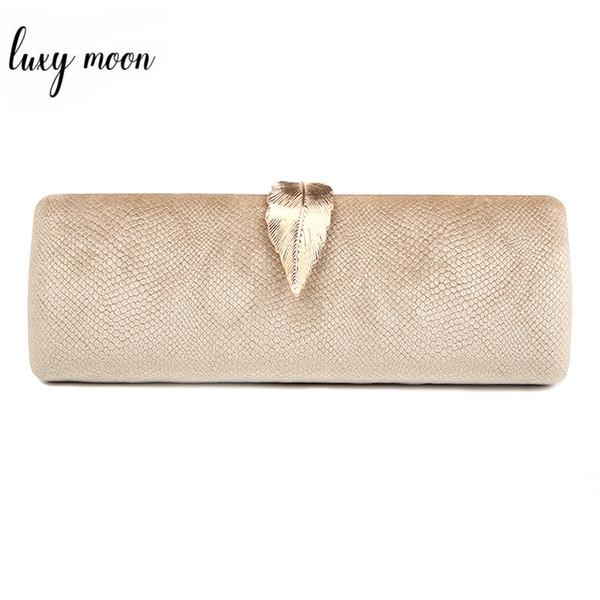 Faux Suede Evening Clutch Bag For Women Long Design Clutch Bag Gold Color Metal Leaf Lock Wedding Purse Female Handbag Bolsa Q190430