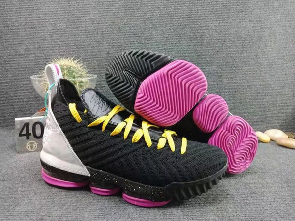 3f74d83d138 lebron 16 SB Pink Black Yellow White Men Basketball Shoes Trainer Good  quality New Arrival James