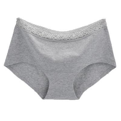 Couleur unie Mi taille Coton Culotte Lingerie Dentelle Slips Doux Sans Couture Intimates Femmes Sous Vêtements Accessoires