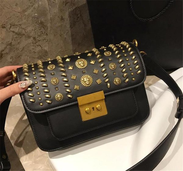 Lady shoulder bag 2019 spring the latest rivet package top quality leather cross body bag with retro rivet black and red handbags women gift