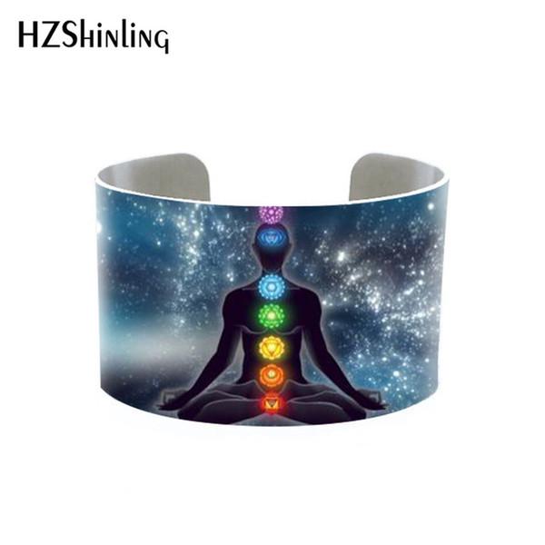 Chakra Pattern Om Yoga Symbol Mens Womens Cuff Bangle Silver Color Jewelry Bracelet Handmade Gifts for Girls Kids
