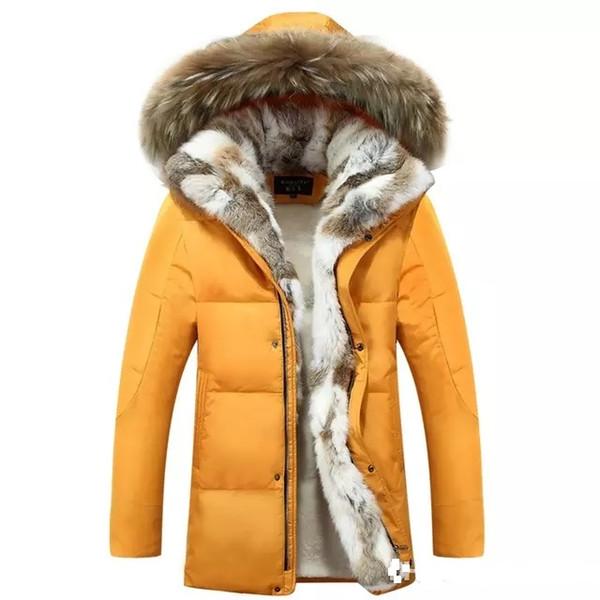 Winter herren ente jacken mäntel echte kaninchenfell männer frauen liebhaber mode dicke warme parka klassische herren jaqueta masculina
