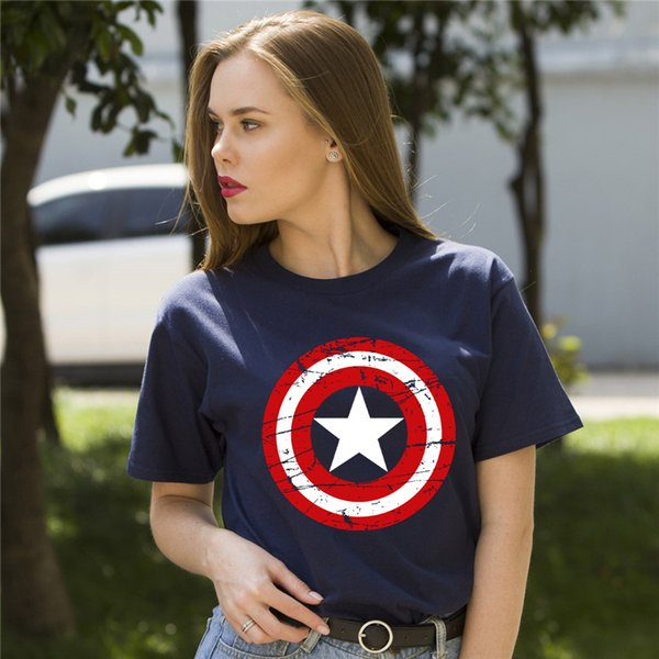d1aab3231 Fashion Clothes Short Sleeve Tshirt Hot High Quality Cotton Girl's Captain  America Printed Funny T Shirt