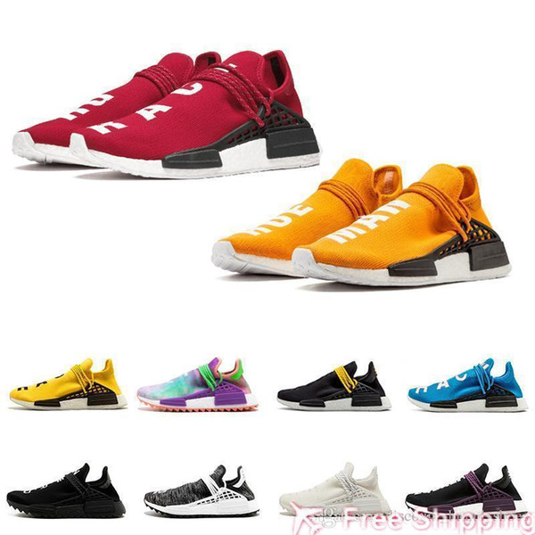 Fashion New Orange Box Red White With Human Race Trail Running Shoes Yellow holi Core Black Men Women Pharrell Williams HU Runner Sports