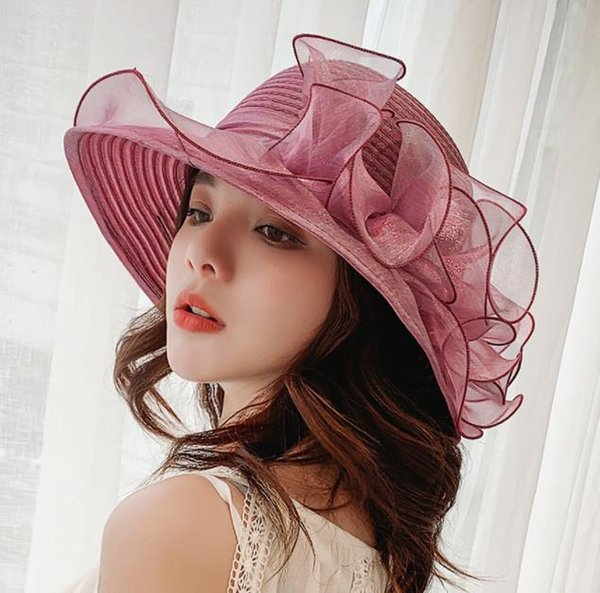 Moda Kadınlar Mesh Kentucky Derby Kilisesi Şapka Ile Çiçek Yaz Geniş Ağız Kap Düğün Parti Şapkaları Plaj Güneş Koruma Kapakları
