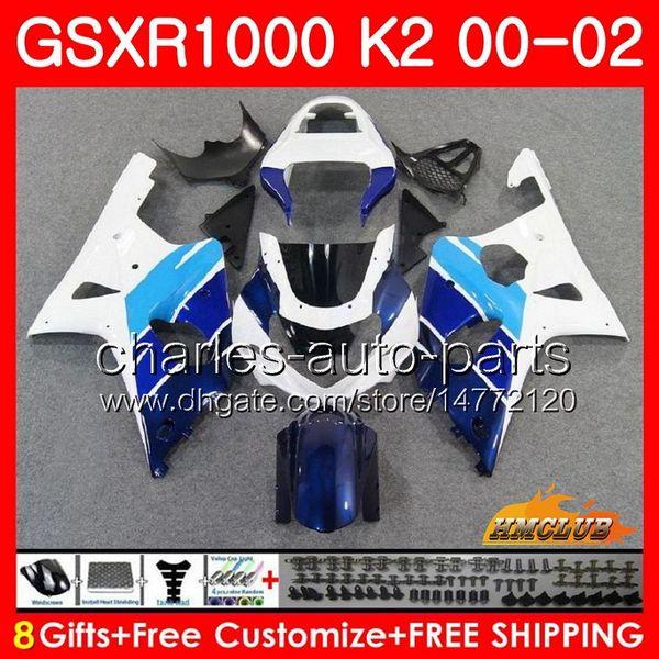 Karosserien für SUZUKI GSXR 1000 GSX-R1000 GSXR1000 00 01 02 Rahmen 14HC.27 GSX R1000 K2 00 02 GSXR-1000 2000 2001 2002 Verkleidungssatz weiß blau neu