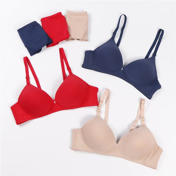 New Bra Set Sexy intimo donna senza cuciture per il piccolo petto Carino Lingerie Live Girl Sports Wireless reggiseno push up Set breve