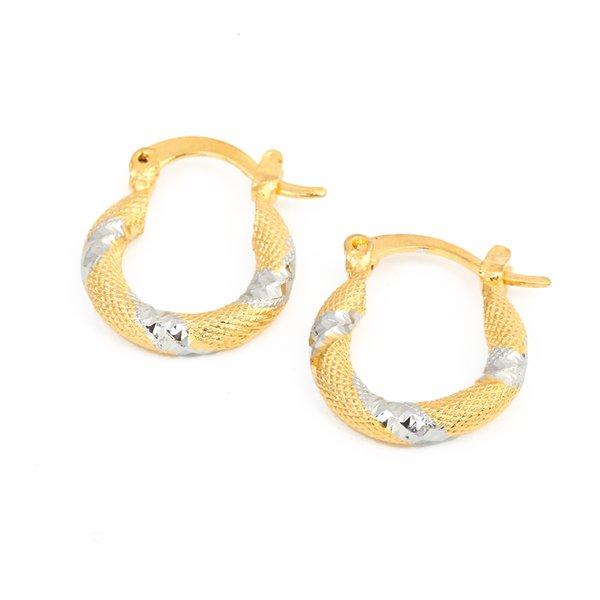 İki Ton Büküm Altın Kaplama Oval Döngü Hoop Küpeler Kadınlar için