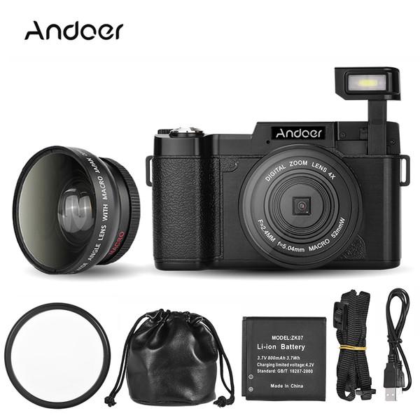 Caméra vidéo numérique Full HD Andoer CDR2 1080P avec zoom numérique 4X et anti-tremblement Caméscope avec objectif grand angle