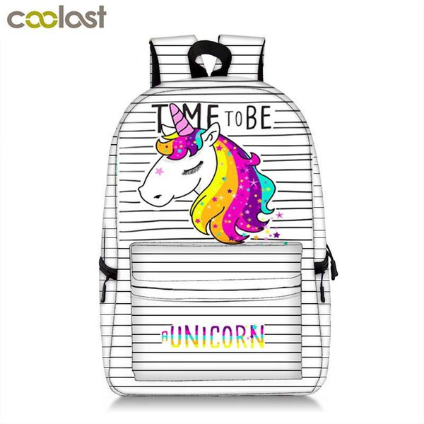 Colorful Unicorn Students Backpack Cartoon Panda Children School Bags Backpack For Teenager Girls Book Bag Women Laptop Backpack Y19062401