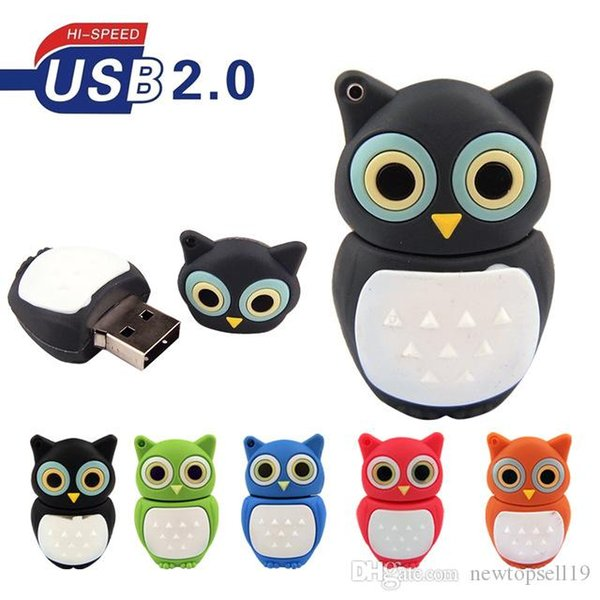 High quality Colorful Mini Owl Flash Drive Memoria Usb USB Pen Drive 4GB 8GB 16GB 32GB 64GB Pendrive USB 2.0 Children Gifts Memory Stick