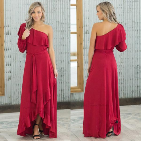 2019 Kırmızı Bir Omuz Uzun Kollu Gelinlik Modelleri Bir Çizgi Şifon Hi Lo Resmi Akşam Önlük Ucuz Plaj Nedime Elbise Için