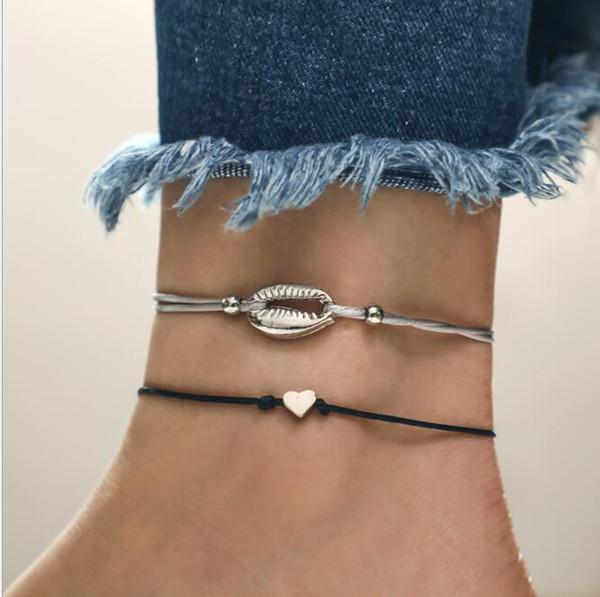 Européen et américain nouvelle coquille créative amour en forme de coeur bracelet de personnalité simple corde tissée à la main bracelet multicouche deux pièces
