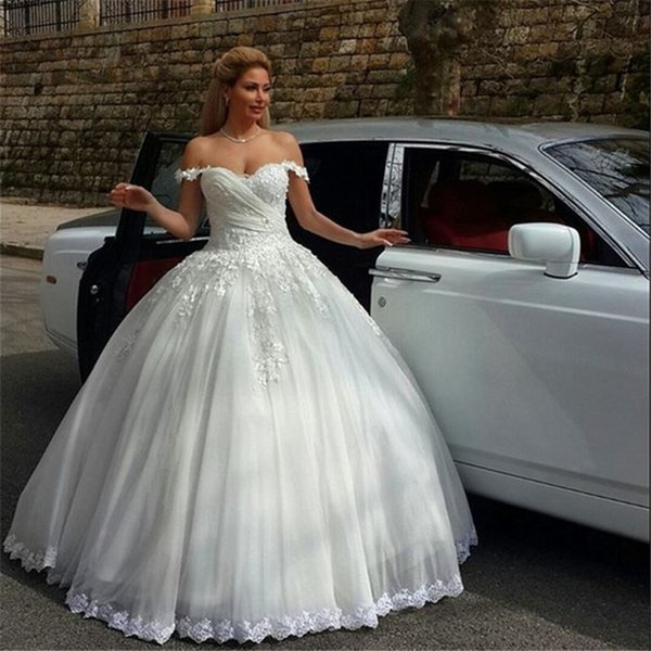 Beautiful New Lace Wedding Dresses Lace Up Back Lace Strapless Sleeveless Ball Gown Sleeveless Trim Robes De Bal Robes De Bal Muslim Wedding Dresses
