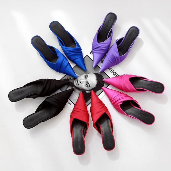 Crystal2019 Fold Menekşe Keskin Yarım Terlik Kadın Diğer Giysiler Ipek Ve Muller Ayakkabı Ile Saten Ince Iplik Sandalet