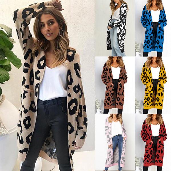 Sonbahar kış sıcak Moda Kadınlar gevşek Örme Kazak Rahat uzun Hırka Uzun Kollu Ceket Kaban Dış Giyim Artı Boyutu Cep