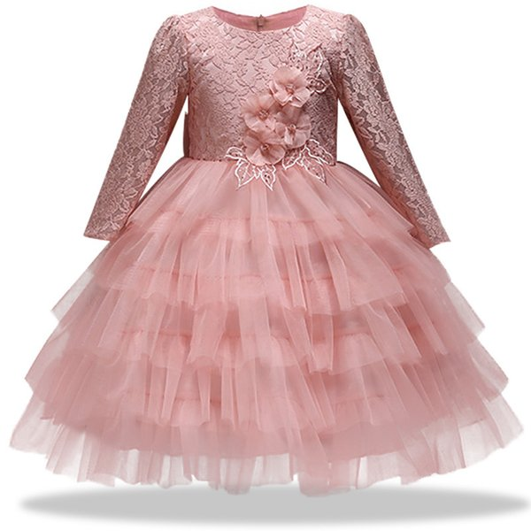 2018 States Spring Autumn New Children's Halter Dress Girl Big Bow Baby Flower Girl Lace Applique Long Sleeve Princess Dress J190426