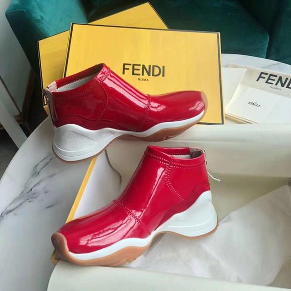 Lastik Sole F1681 ile lüks Günlük Ayakkabılar kadınların kırmızı beyaz siyah Smooth Sneaker Kadınlar Deri Ayakkabı Düşük Top'un fermuar Casual Düz Ayakkabı