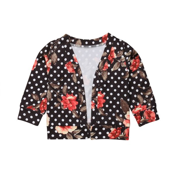 Kids Girl Coat Casual Flower Print Polka Dot Children Tops Long Sleeve Coat Kids Jacket Toddler Girls Clothes Children Outerwear