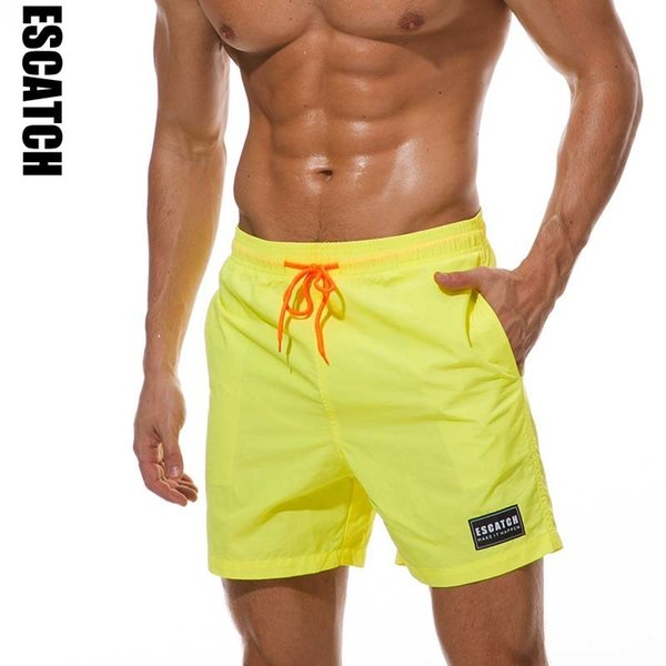 Escatch Quick Dry Swimwear Men's Swim Shorts Trunks Beach Boardshorts Man Gym Bermuda Swimsuit Mens Running Sports Surf Shorts C19040801