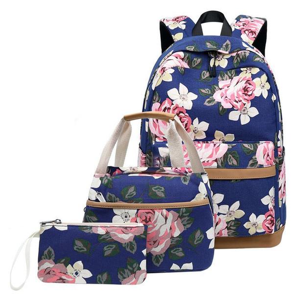 Womens Floral Canvas Backpack Girls Shoulder School Book Bag Rucksack Schoolbags